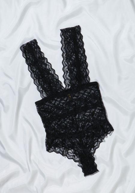 Black Floral Lace Lingerie Bodysuit