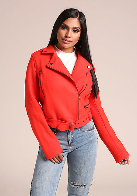 Red Felt Cinched Zipper Moto Jacket