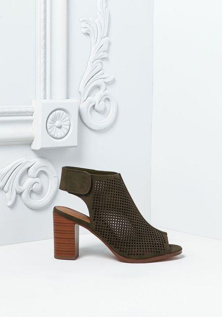 Olive Leatherette Laser Cut Back Strap Heels