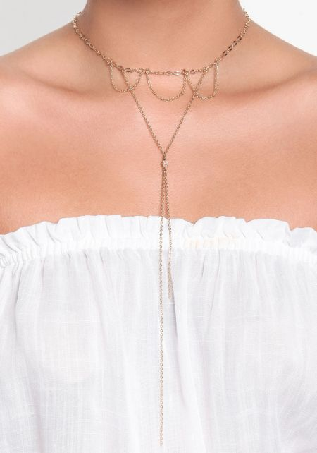 Gold Draped Delicate Chain Necklace