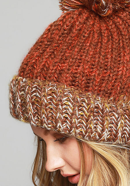 Rust Pom Pom Thick Knit Beanie