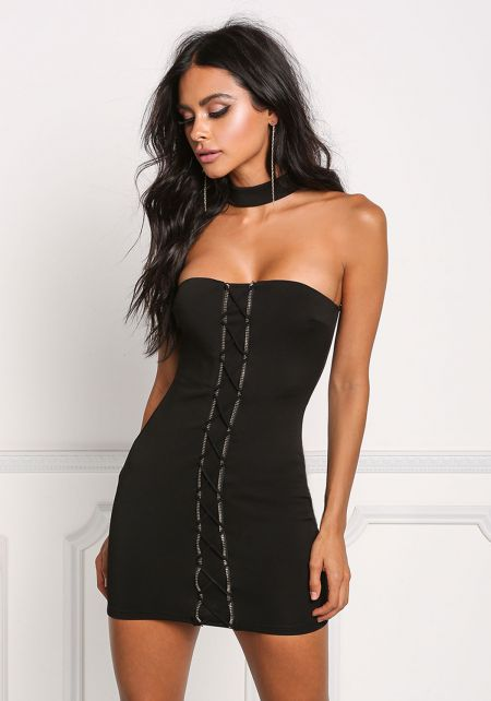 Black Choker Zipper Cross Strap Bodycon Dress