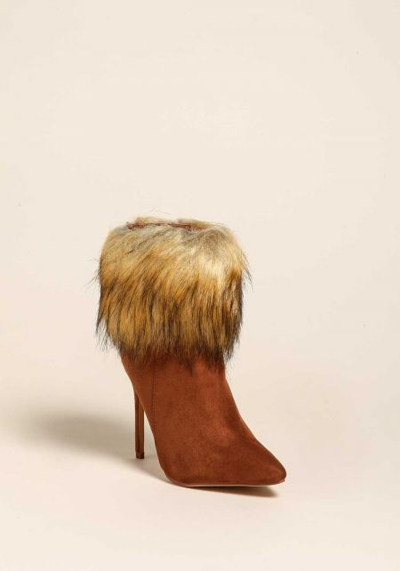 Tan Faux Fur Trim Suedette Booties