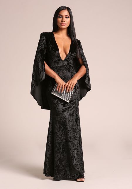 Black Crushed Velvet Plunge Cape Gown