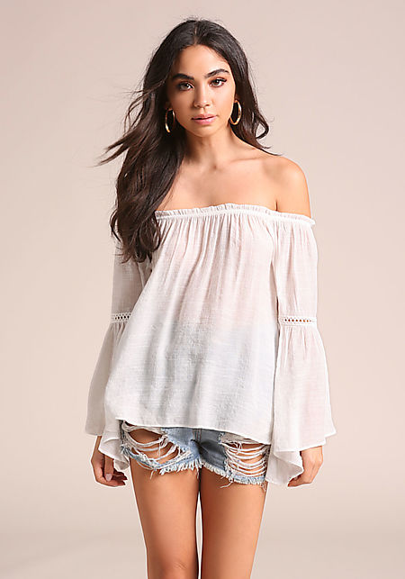 White Gauze Off Shoulder Bell Sleeve Blouse