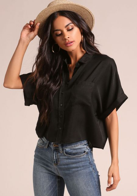 Black Collared Boxy Blouse