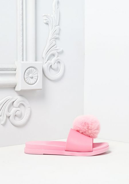 Pink Furry Pom Pom Slide Sandals