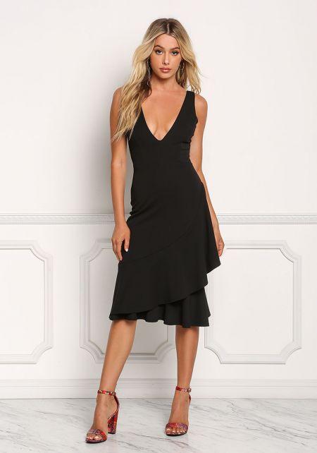 Black Ruffle Layered Plunge V Dress
