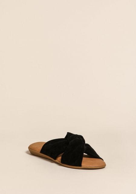Black Suedette Knotted Sandals