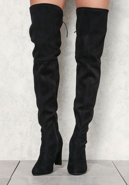 Black Thigh High Suedette Boots