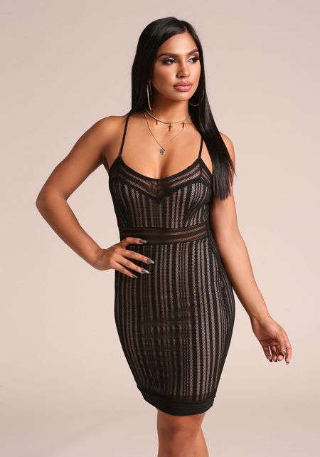 Black Mesh Net Bodycon Dress