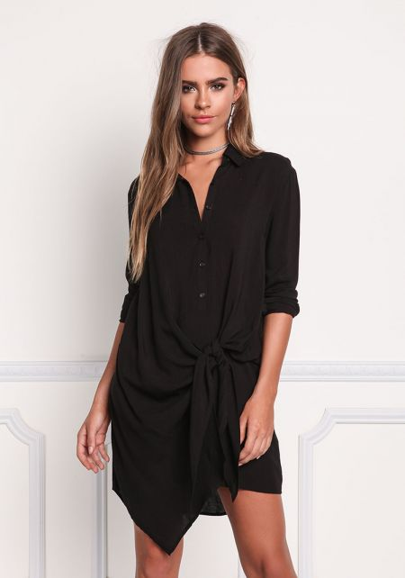 Black Collared Tie Front Shift Dress