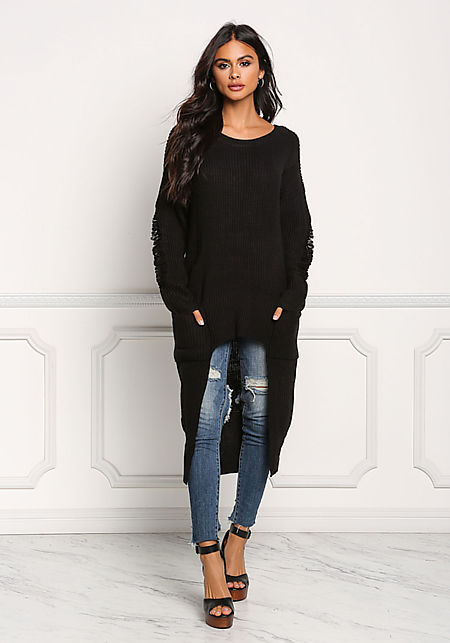 Black Frayed Hi-Lo Sweater Top