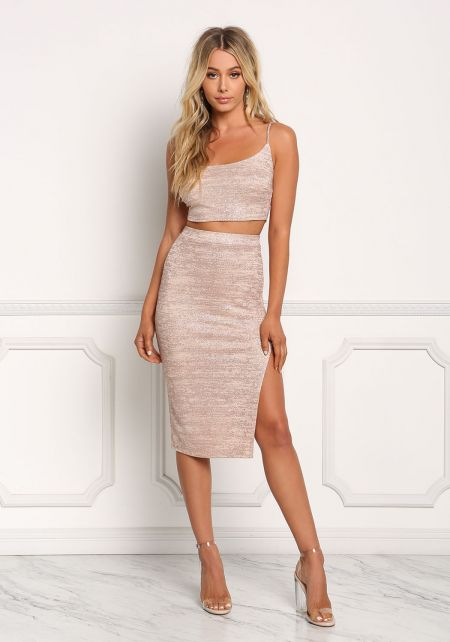 Rose Gold Sparkle Side Slit Skirt