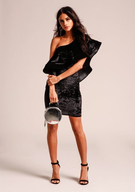 Black Voluminous One Shoulder Crushed Velvet Dress