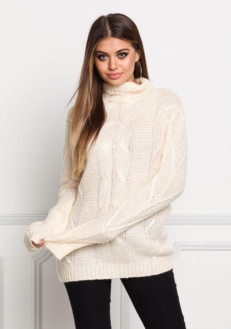 Cream Thick Cable Knit Turtleneck Sweater Top
