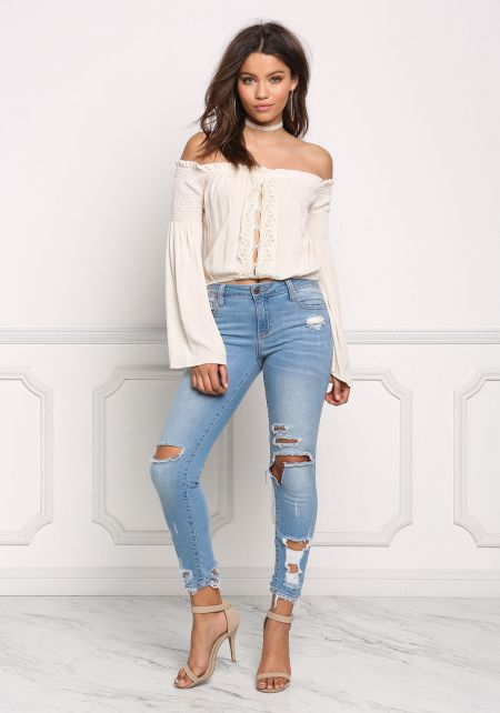 Taupe Crepe Off Shoulder Cut Out Crop Top