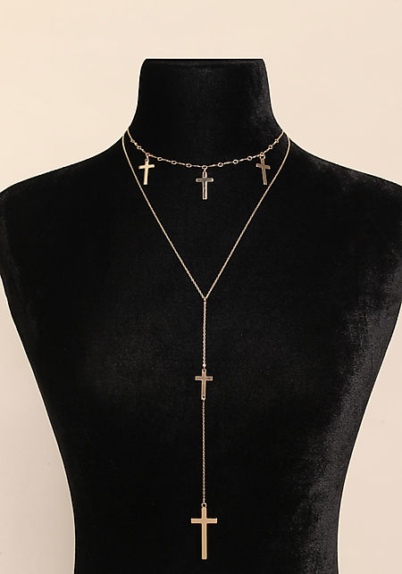 Gold Cross Delicate Drop Necklace