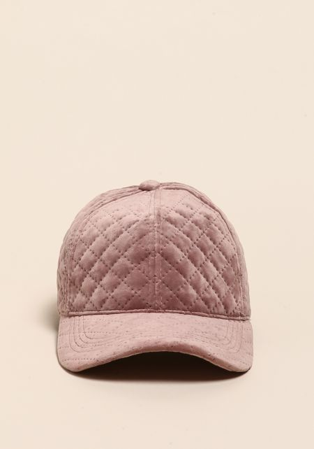 Blush Quilted Velvet Dad Hat