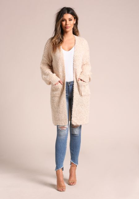 Oatmeal Fuzzy Thick Knit Pocket Cardigan