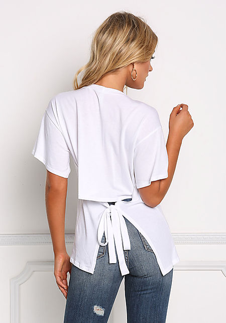 White Tie Back Jersey Knit Tee