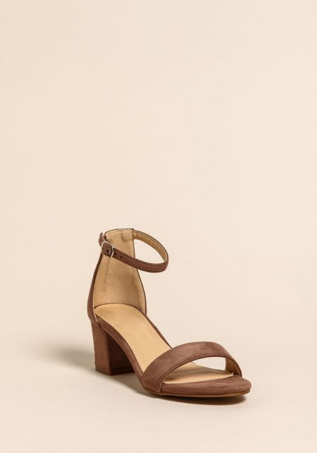 Taupe Short Ankle Strap Heels
