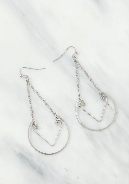 Silver Chain Hoop Chandelier Earrings