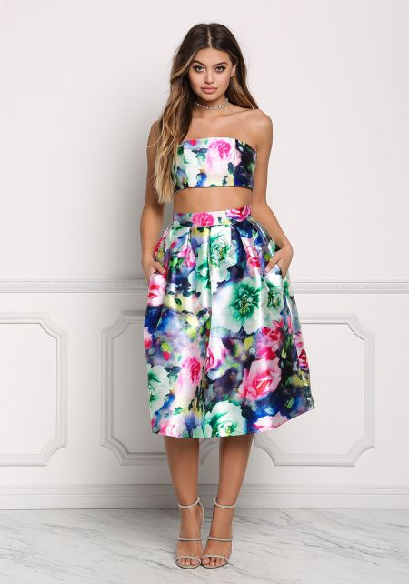 Multi Floral Taffeta Pleated Flared Skirt