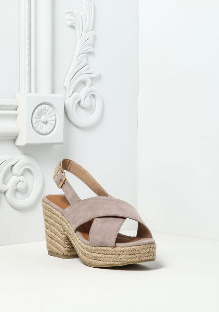 Taupe Cross Over Braided Wedges