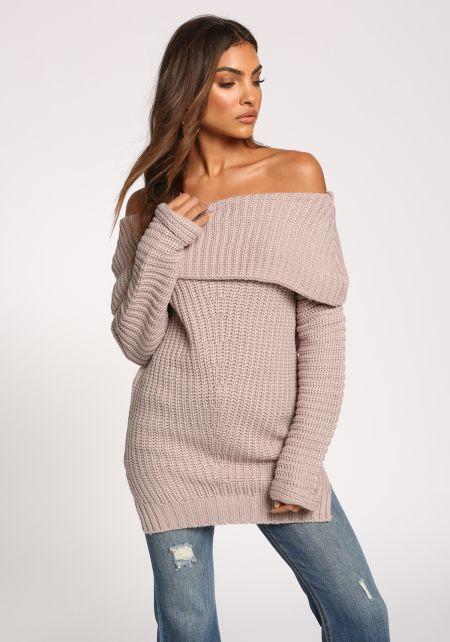 Mauve Fold Over Off Shoulder Sweater Top