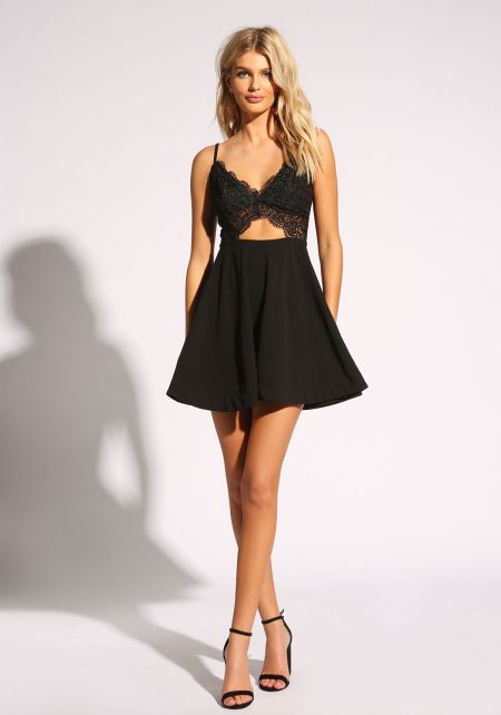 Black Embroidered Cut Out Flared Dress