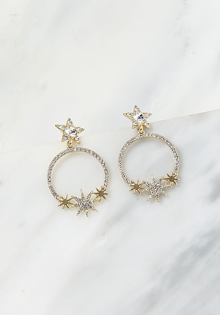 Gold Rhinestone Star Hoop Earrings