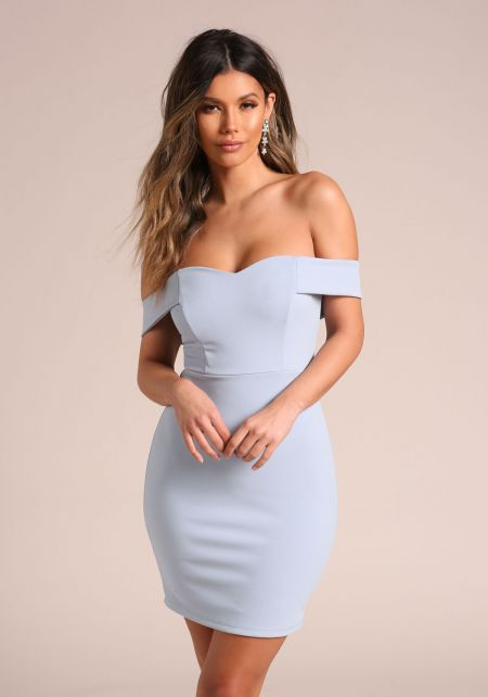 Light Blue Sweetheart Off Shoulder Bodycon Dress