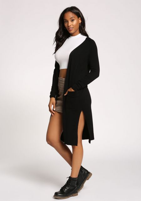 Black Side Slit Pocket Longlined Cardigan