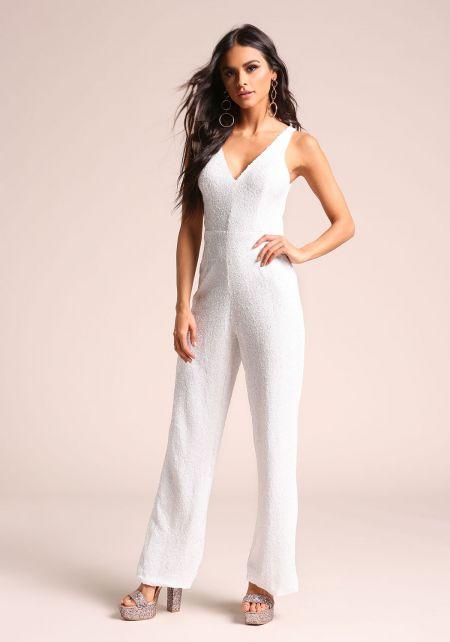 White Sequin V Plunge Jumpsuit