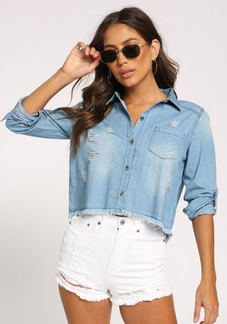 Medium Denim Distressed Cropped Blouse