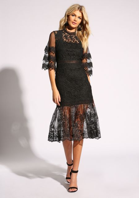 Black Tulle Embroidered Flared Dress