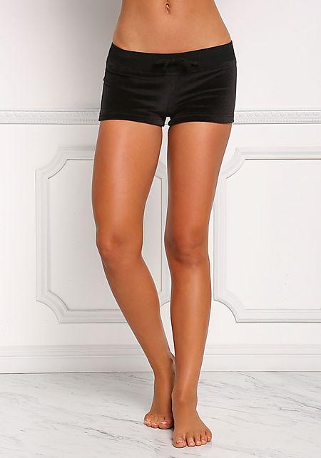 Black Velvet Low Rise Shorts