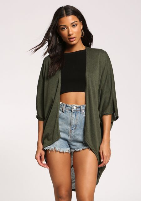 Olive Draped Dolman Knit Cardigan