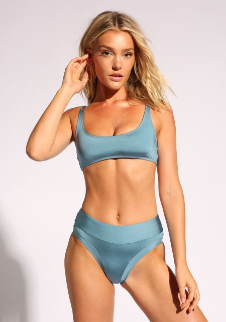 Blue High Rise Metallic Swimsuit Bikini Bottoms