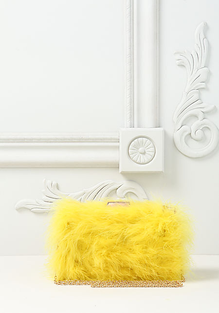 Yellow Fuzzy Faux Feather Clutch