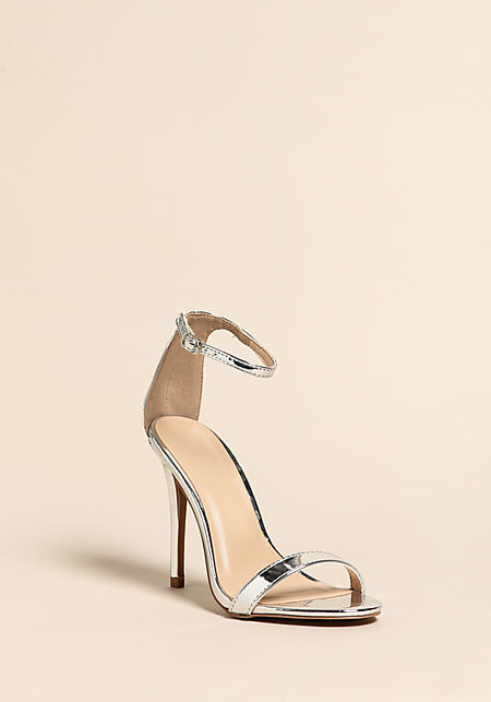 Silver Rhinestone Ankle Strap Heels