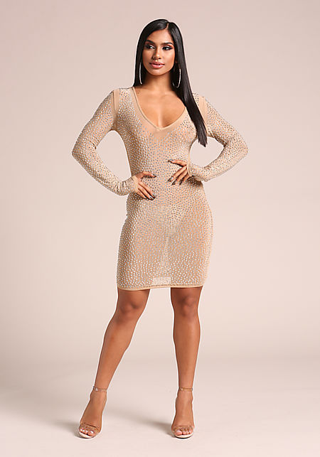 Nude Rhinestone Mesh Bodycon Dress