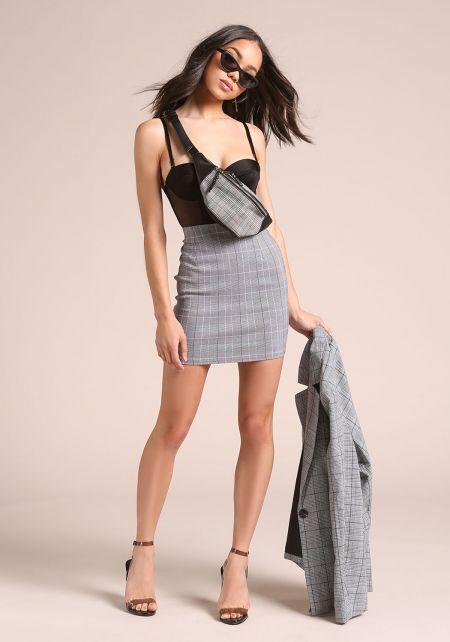 Black and White Glen Plaid Mini Skirt