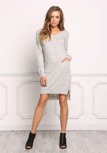 Heather Grey Soft Knit Pocket Shift Dress