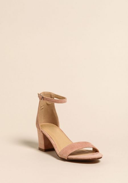 Dusty Rose Short Ankle Strap Heels