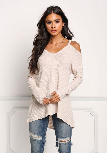 Beige Cold Shoulder Hi-Lo Knit Top
