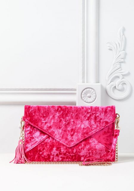 Fuchsia Crushed Velvet Envelope Clutch