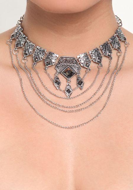 Silver Thin Layered Chain Pendant Choker