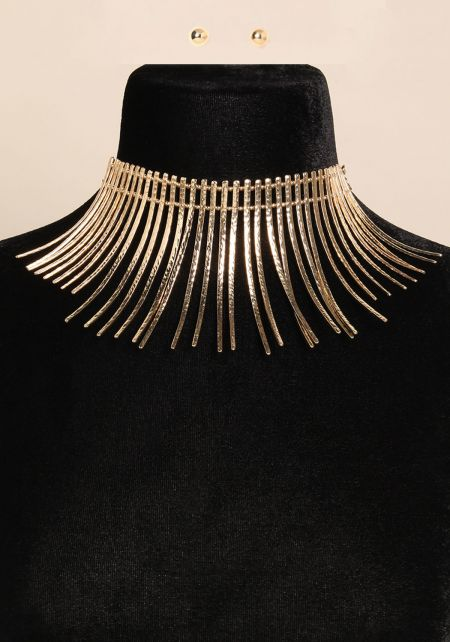 Gold Fringe Choker And Earring Set